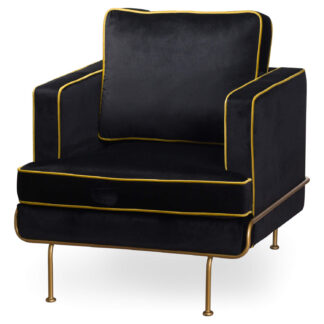 Orla Black Velvet Arm Chair