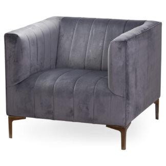 Emperor Grey Velvet Armchair