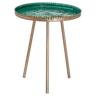 Aztec Collection Brass Embossed ceramic Dipped Side Table