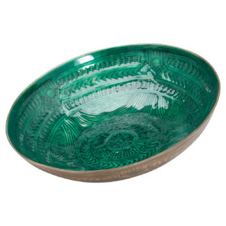 Aztec Collection Brass Embossed Ceramic Large Bowl