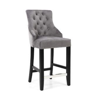 Chandler Ring Back Brushed Velvet Grey Bar Chair