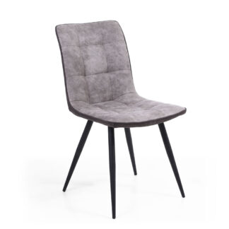 Rodeo Suede Effect Light Grey Dining Chair (Set Of Two)