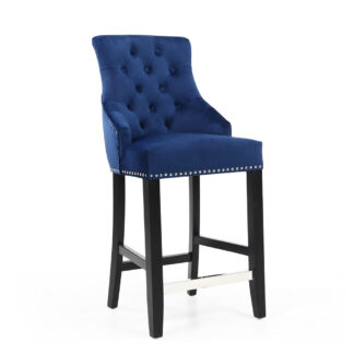 Chandler Ring Back Brushed Velvet Ocean Blue Bar Chair