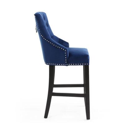 Chandler Ring Back Brushed Velvet Ocean Blue Bar Chair