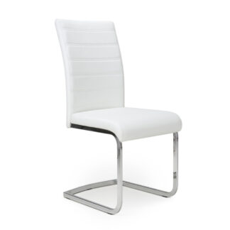 Callisto Leather Effect White Dining Chair (Set Of Two)