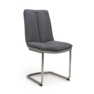 Triton Linen Effect Dark Grey Dining Chair (Set Of Two)