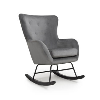 Alpine Brushed Velvet Grey Rocking Chair