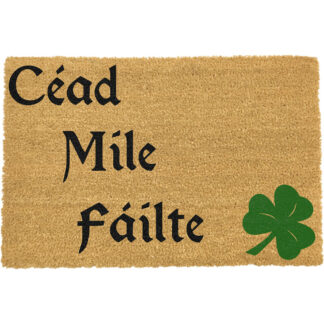 Green & Black Cead Mile Failte Gaelic Doormat