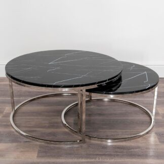 Real Black Marble Coffee Table - Nest of 2