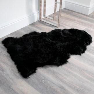 Black Sheepskin Rug XXL
