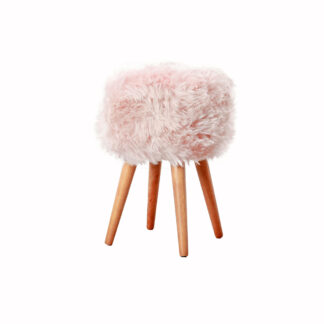 Blush Pink Sheepskin Wood Stool - Woodstain