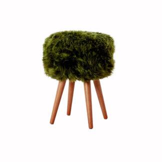 Olive Green Sheepskin Wood Stool - Woodstain