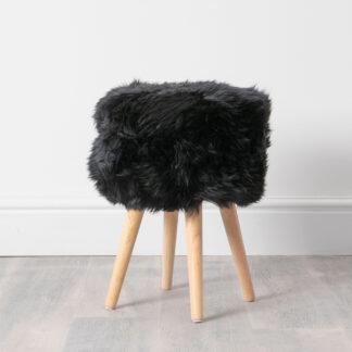 Black Sheepskin Wood Stool - Light Wood